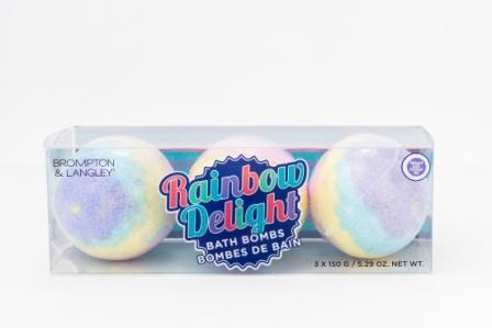 Clear package of three Brompton & Langley Rainbow Delight Bath Bombs.