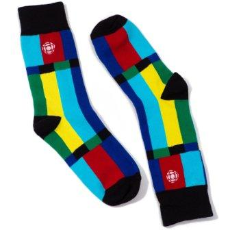 Pair of socks with a design inspired by the colorful CBC standby screen. Dark blue, pale blue, yellow, dark green and red stripes with black accents.