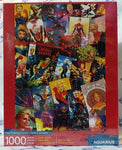 Cover of puzzle box shows 1000-piece puzzle featuring images of Carol Danvers as Captain Marvel by different artists.