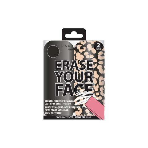 Erase Your Face package containing one black and one leopard print cloth.