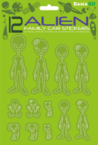 Package of 12 lime green car stickers depicting alien family (parents, children, pets).