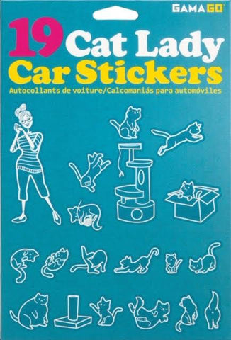 Package of 19 white and turquoise stickers depicting a woman in a striped shirt wearing glasses and cats performing different actions.