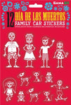 Package of 12 red and white Day of the Dead car stickers depicting skeleton family (parents, kids, pets).