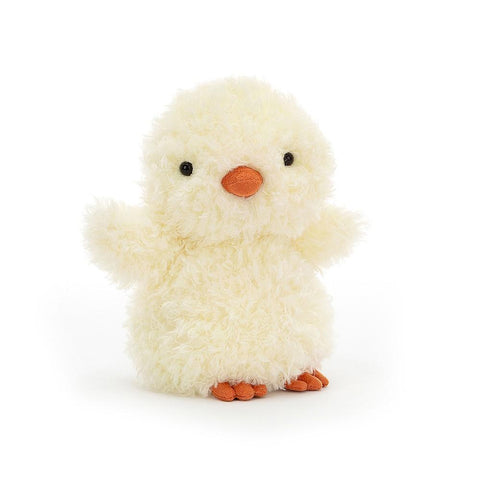 "Standing plush chick with yellow fur and orange beak and feet. ""Wings"" held out to be picked up."