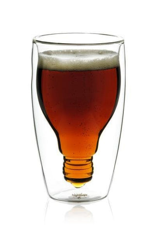 Double wall pint glass with interior glass in the shape of a lightbulb and filled with beer.