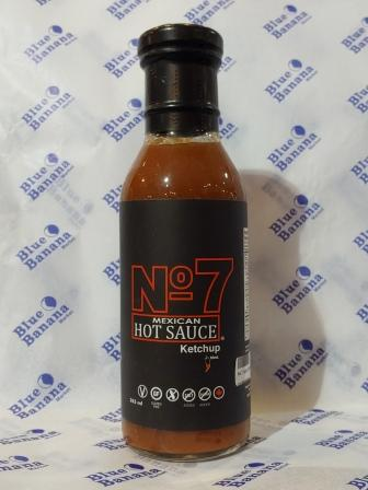 355 ml glass bottle of No. 7 Mexican Hot Sauce Ketchup. Black label with red-outlined or white text.
