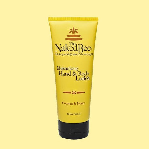 6.7 oz soft tube bottle (yellow) of The Naked Bee Coconut & Honey Moisturizing Hand & Body Lotion.