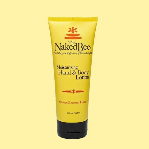 6.7 oz soft tube bottle (yellow) of Orange Blossom Honey Moisturizing Hand & Body Lotion.