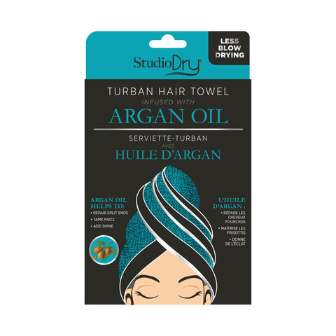 Package of Turban Hair Towel Infused With Argan Oil. Black and turquoise color scheme. Shows turquoise towel.