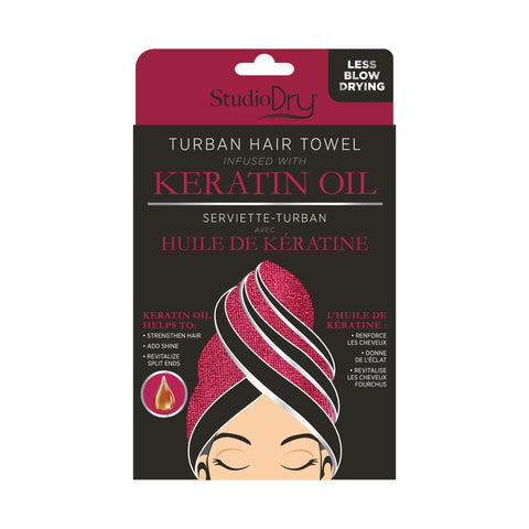 Package of Studio Dry Turban Hair Towel Infused With Keratin Oil. Black and dark red color scheme. Shows red towel.