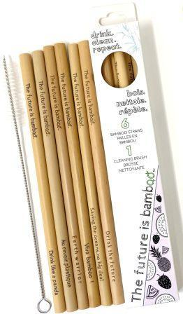 6 bamboo straws plus cleaner shown in package and next to package.