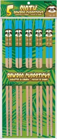 Package of 5 pairs of bamboo chopsticks with cartoon illustrations of sloths against light blue at top.