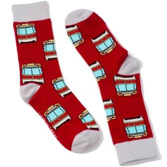 Red socks with design of red and white Toronto streetcars. White toes, heels, and cuffs.