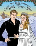 "Front of card with illustration of Westley and Buttercup from the movie The Princess Bride. Clouds behind them and a castle in the distance. Over their heads the words ""And They Lived Happily Ever After."""