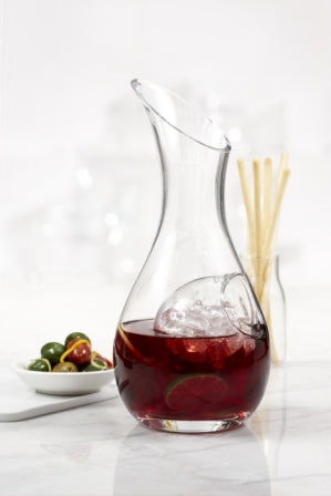 Kangaroo Carafe shown with bottom half-filled with sangria, revealing the inner compartment filled with ice.