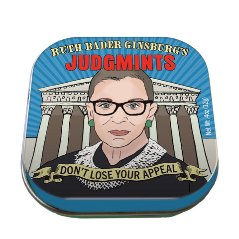 "Turquoise mint tin lid with illustration of Ruth Bader Ginsburg in robe in front of Supreme Court building. Yellow and red text at top of lid reads ""Ruth Bader Ginsburg's Judgmints."" Yellow banner at bottom of lid reads ""Don't Lose Your Appeal."""
