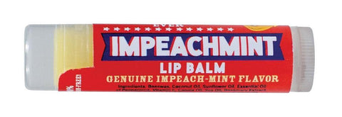 "Tube of Impeachment Lip Balm. Red label with ""Impeachment"" on blue banner. Other visible text reads ""Genuine Impeach-Mint Flavor."""