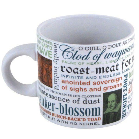 White mug with Shakespearean insults in different fonts and colors (black, dark blue, orange, light green).