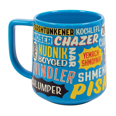 Light blue mug with Yiddish insults in white, red, yellow or black text and different fonts.