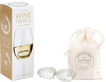 Wine Twirls package showing the twirls inside of a glass of wine. Next to it, two twirls in front of their drawstring storage bag.