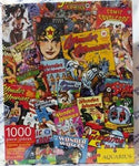Cover of puzzle box shows the 1000-piece puzzle featuring Wonder Woman comics covers throughout the years.