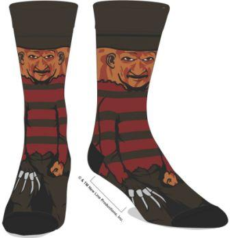 Socks with cartoon image of Freddy Krueger surrounding the foot, facing front.