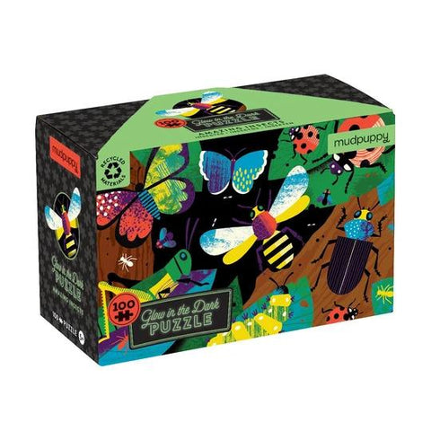 Mudpuppy 100-piece Glow in the Dark Amazing Insects Puzzle. Front of box shows colourful drawings of insects in night forest scene.