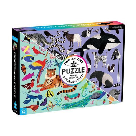 Mudpuppy 100-piece Double-Sided Animal Kingdom Puzzle in box. Front of box shows drawings of colorful animals at bottom left and drawings of black-and-white animals at top right.
