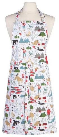 Danica Basic Apron, white with colorful Canadian themed illustrations of wildlife, cowgirls and Mounties.