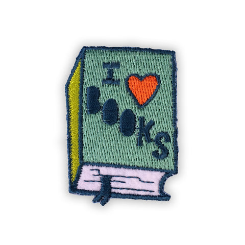 Badge Bomb I Love Books Iron On Patch