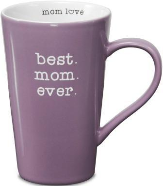 "Tall lavender mug with white ""typed"" text ""best. mom. ever."" Text on inside rim reads ""mom love"" with heart instead of ""o."""