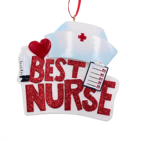 Best Nurse Ornament 3.25""