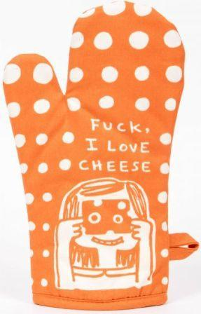 "Orange oven mitt with white polka dots and cartoon illustration of a little girl holding a piece of Swiss cheese up to her eyes and looking through the holes. Above her head the words ""Fuck, I Love Cheese."""