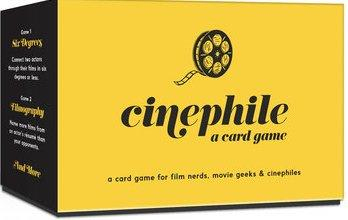 "Cinephile Card Game Box, yellow with black text and illustration of film reel. Small text at bottom of box reads ""a card game for film nerds, movie geeks & cinephiles."""