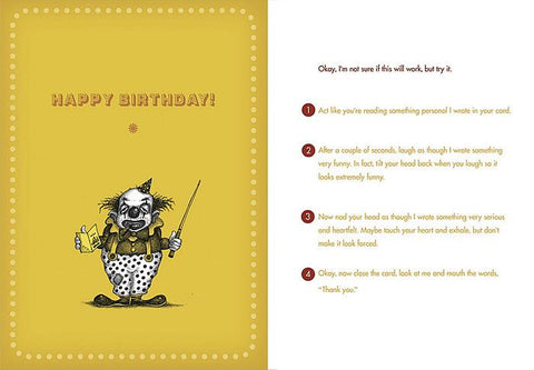 Front and inside of card. Front is yellow with illustration of clown holding card and pointer.
