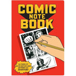 "Front of notebook, red background with yellow and black text. Illustration of hand drawing a comic book image panel. Block letters spell out ""Comic Note Book"" at top of cover. Comic style text book at bottom left reads ""64 pages of never-before-seen action and adventure!"""