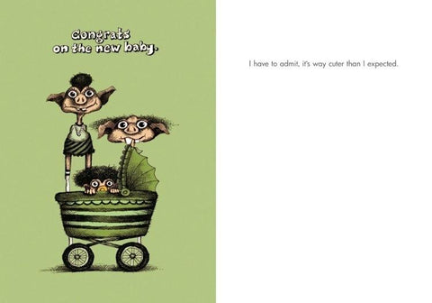 "Front and inside of card. Cartoon of troll-like family with baby in carriage. Black and green. White text at top:""Congrats on the new baby."""