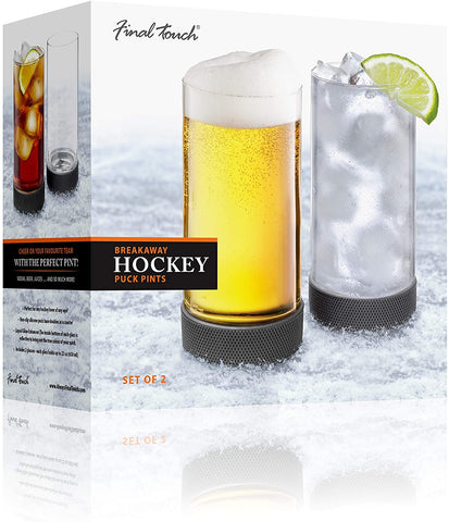 Final Touch Breakaway Hockey Puck Pints Set of 2 Glasses