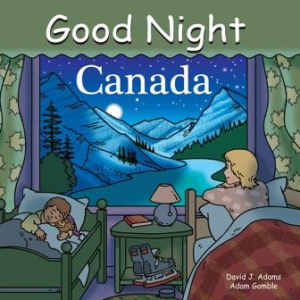 "Front of board book with illustration of mother and boy in beds separated by a night table. Boy is sleeping with a teddy bear. Mother is gazing at mountain and lake scenery in picture window. The window features green curtains with yellow maple leaves. Text at top of book reads ""Good Night Canada."""
