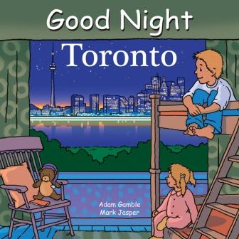 "Front of board book with illustration of siblings, boy and girl, on bunk bed, looking out of picture window at downtown Toronto with CN tower across a body of water. Text at top of book reads ""Good Night Toronto."""