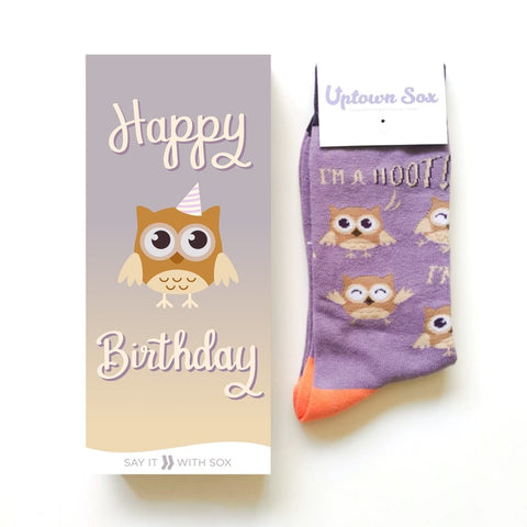 Hoot Birthday Greeting Card With Socks Combo
