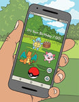 "Front of card with illustration of hand holding mobile phone with Pokémon Go figures on screen. Text on phone screen reads ""It's Your Birthday / GO!"""