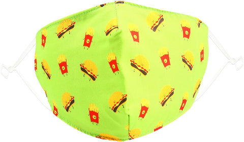 Kids Reusable Fabric Mask Cheeseburger