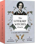 Cover of The Literary Witches Oracle with illustration of Emily Brontë surrounded by hummingbirds and wolves.
