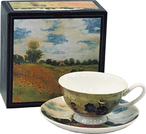 Monet Poppies Cup & Saucer box showing entire Poppy Field painting, with cup and saucer featuring painting in front of it.