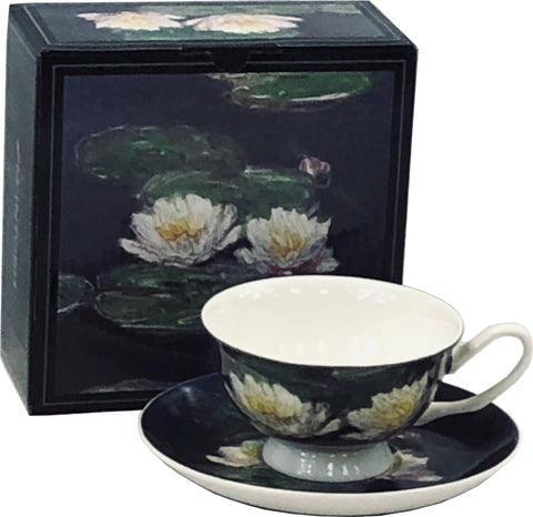 Monet Water Lilies Cup & Saucer box shows detail from painting, with cup and saucer featuring detail in front of it.