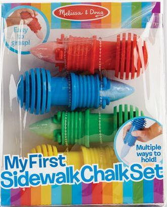 Package of Melissa & Doug My First Sidewalk Chalk Set containing four chalk holders with chalk, red, blue, and yellow.
