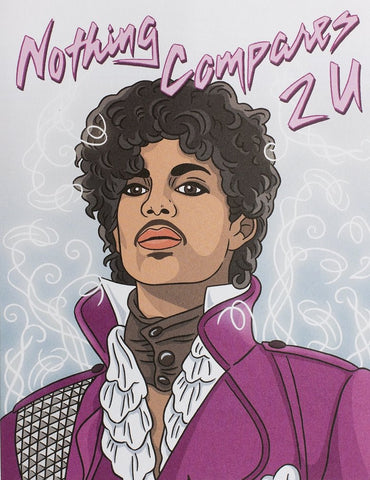 "Front of card with illustration of Prince in purple against light purple background with white swirls. Text in lavender letters: ""Nothing Compares 2 U."""
