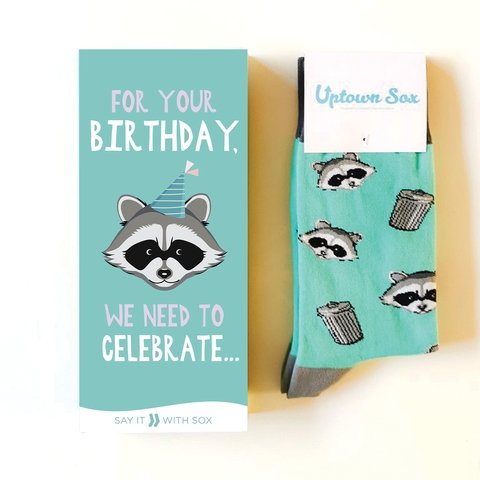 Raccoon Bandit Birthday Card and Unisex Sock Gift Set
