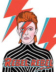 "Front of card with illustration of David Bowie as Aladdin Sane, with red and blue lightning bolt makeup across right eye and orange mullet. Lightning bolt motif repeated twice against white background. Words ""Rebel Rebel"" in red at bottom of card."